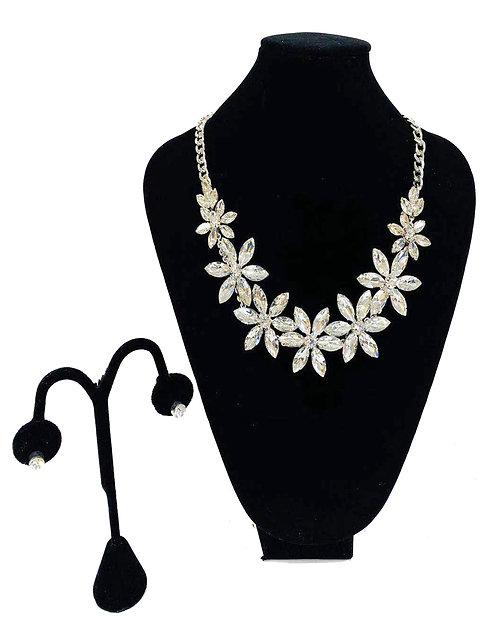 Necklace Set W/ Earrings Silver Gem Flower No#20
