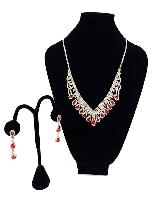 Necklace Set W/ Earrings Silver/Red Rhinestones No#35