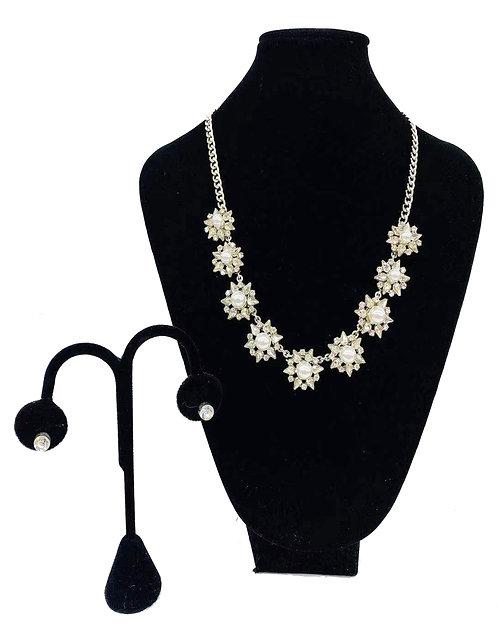 Necklace Set W/ Earrings Silver Pearl Flower No#52
