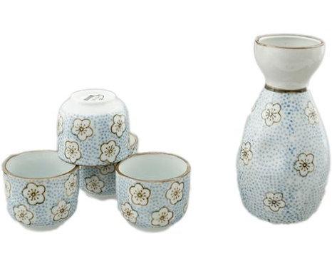 Blue Flower Sake Set