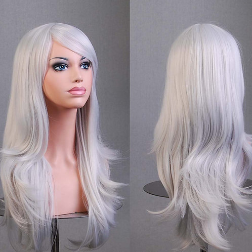 White Light Curly Wig Synthetic Medium