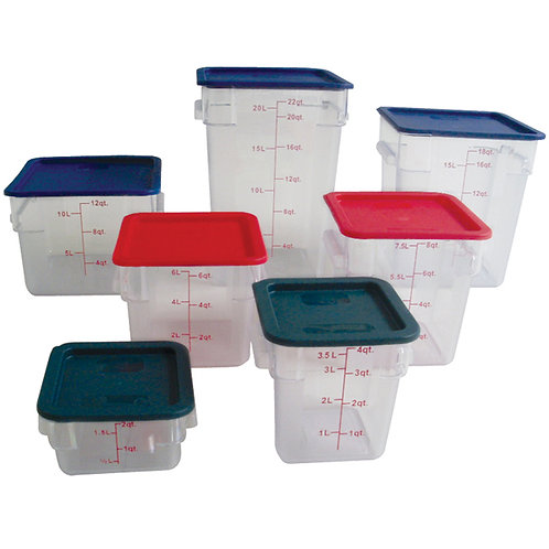 22QT Polycarbonate Square Food Storage Containers, Clear