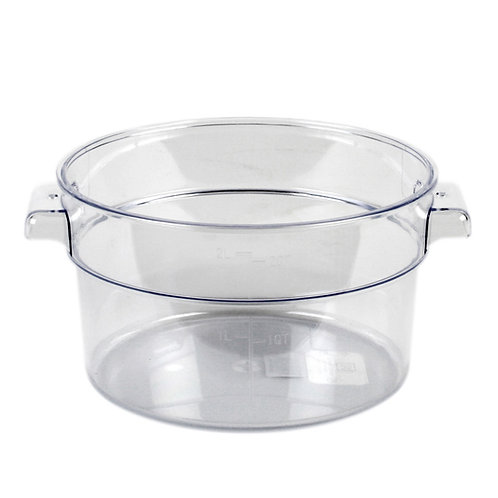 2QT Round Food Storage Container, PC, Clear
