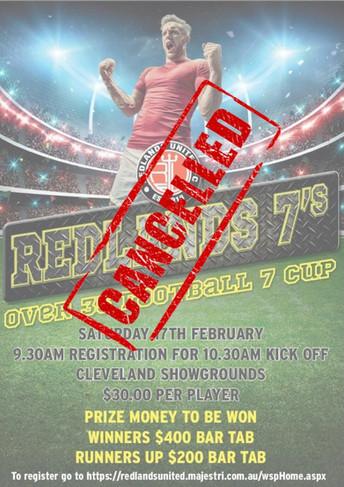 Redlands 7s - Over 35s:   Cancelled