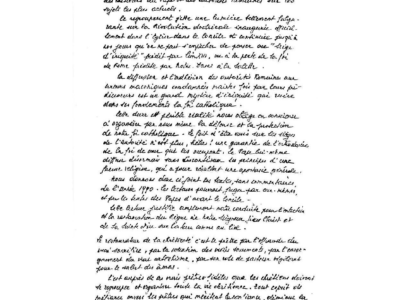 Lettre de Mgr Lefebvre à l'abbé Tam