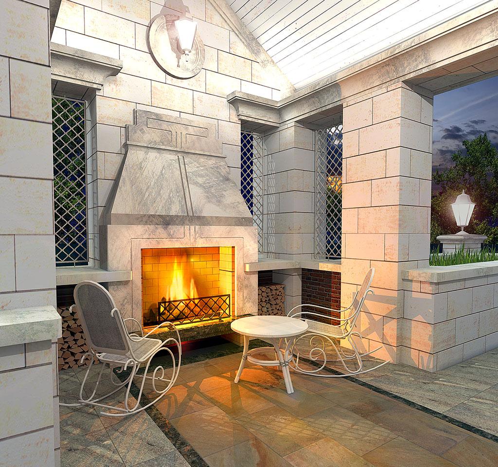 Загородная резиденция. Камин на террасе