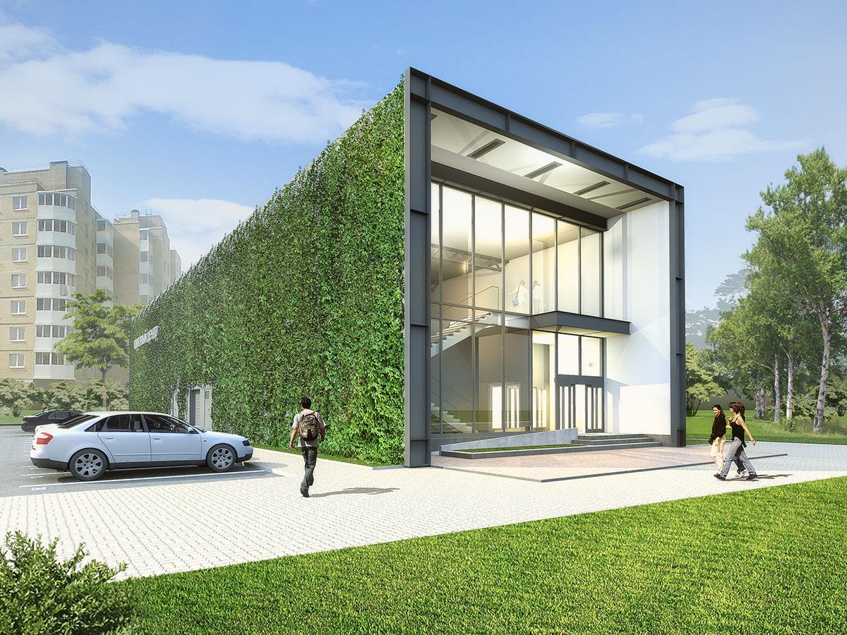 Перспективный вид. Зелёные стены