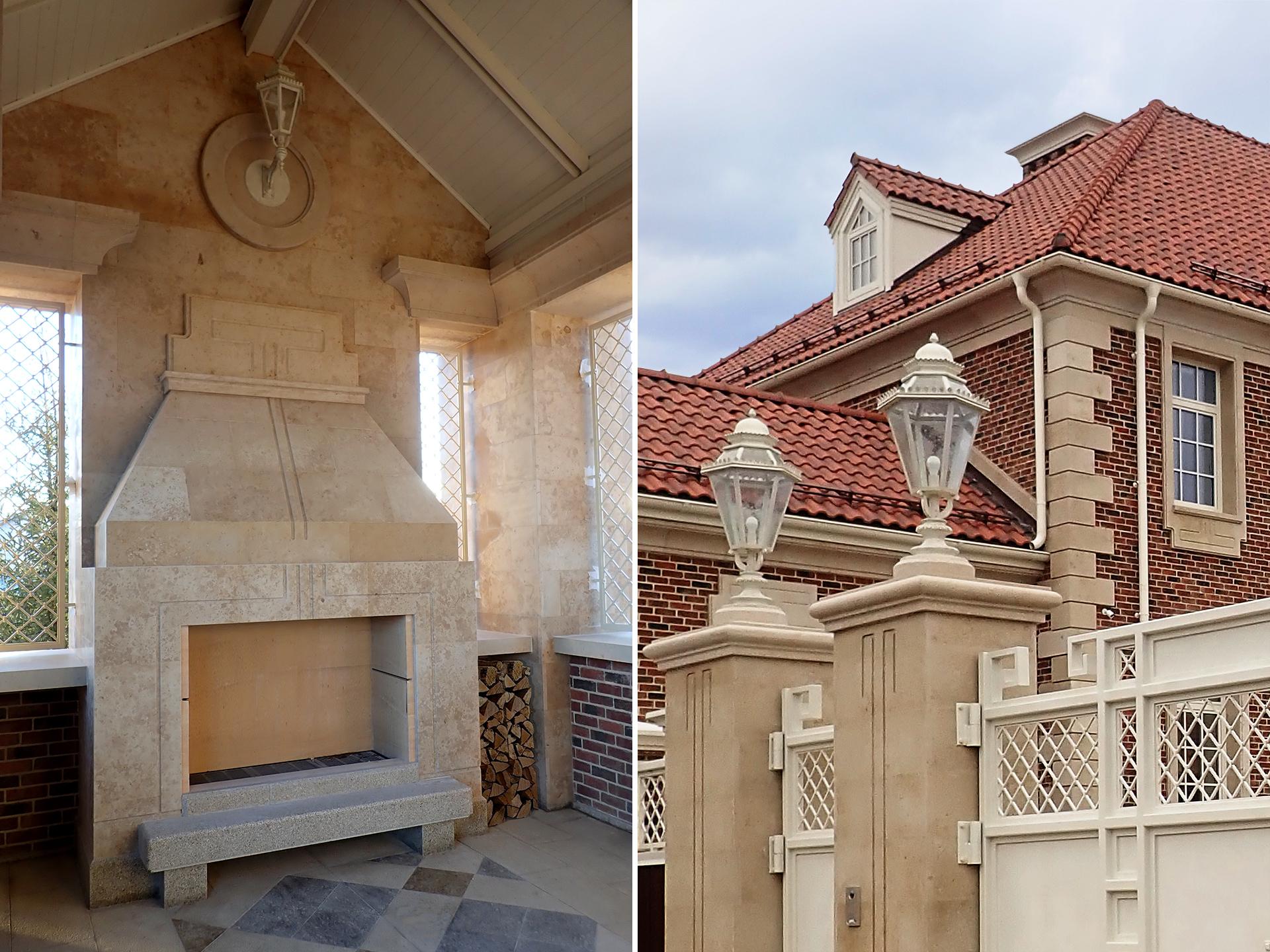 Частная резиденция. Камин на террасе и фонари (фото)