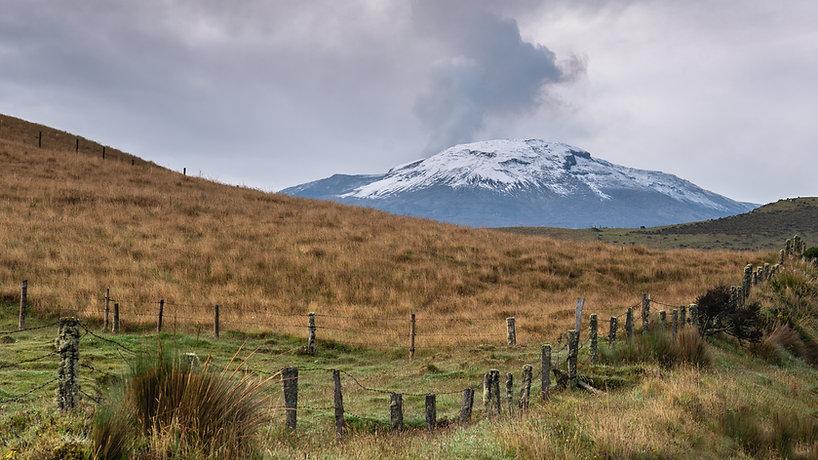 _view of the nevado del ruiz with grass