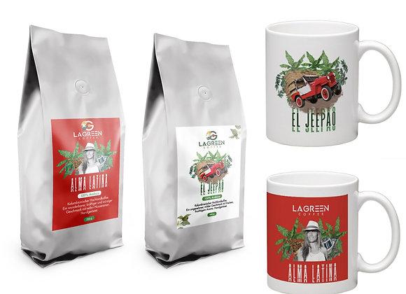 Nur 26,99 € statt 30,10 €  (Geschenk)-Set:  2x250g Kaffee plus 2 passende Tassen