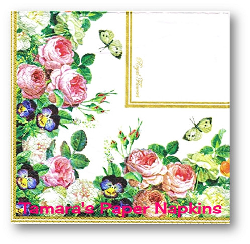 2 decoupage paper napkins royal flower border 33cm lunch napkins you will receive 2 paper napkins in this design over 2000 beautiful designs for decoupage collage and parties durable sturdy and colourfast mightylinksfo