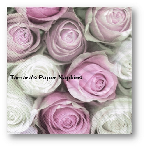 2 Decoupage Paper Napkins PINK AND WHITE VINTAGE ROSES 33cm Lunch ...
