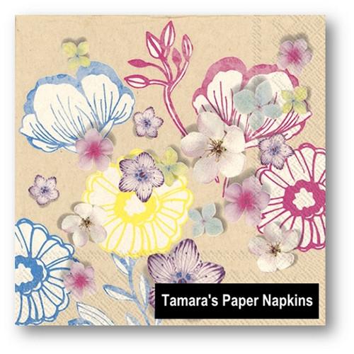 Paper napkins online australia decoupage napkins floral napkins 2 decoupage napkins liz floral brown paper 33cm paper napkins mightylinksfo