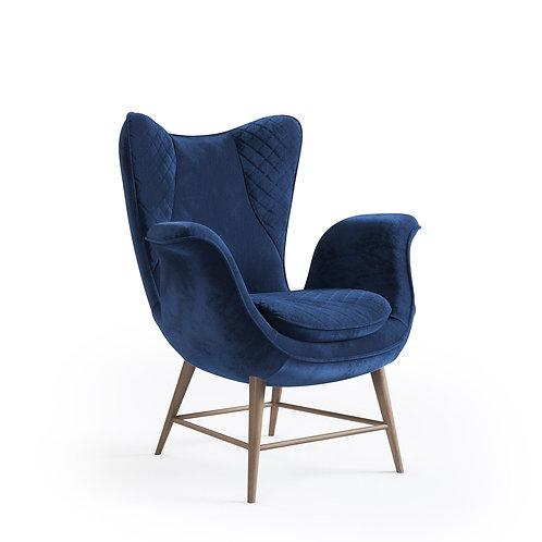 Velvet Winged Armchair