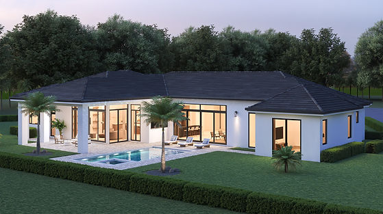 Exterior house with pool rendering
