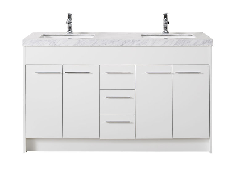 "Lotus 60"" White Double Sink Vanity with Drains and Faucets in Chrome"
