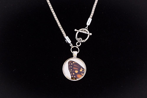 Butterfly Wing w White Backdrop, Round, Silver Tone
