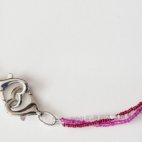 Braided Pink Heart Mask Lanyard