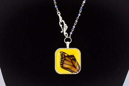 Butterfly Wing w Yellow Backdrop, Square, Silver Tone w Stone