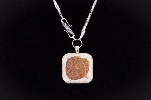 Aspen Leaf, Square, Silver Tone