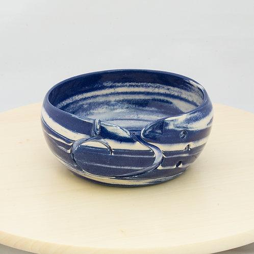 Blue & White Agate Stoneware Yarn Bowl
