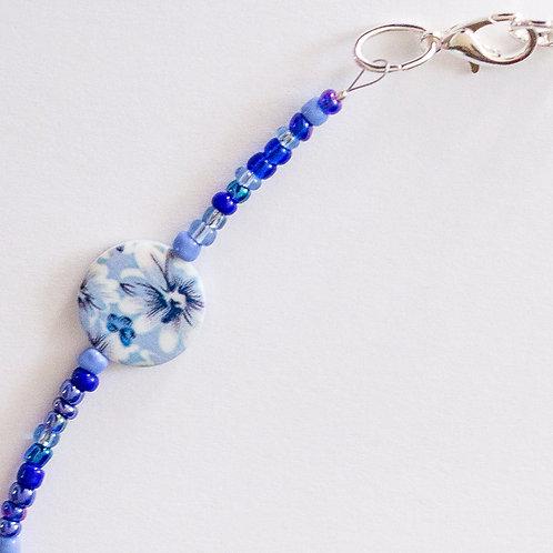 Blue Flower Print Mask Lanyard