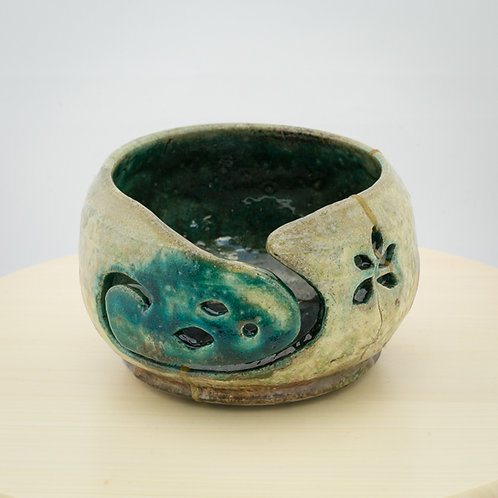 Flower Raku Yarn Bowl