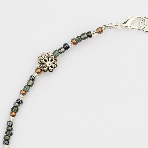 Metallic Jeweled Flower Mask Lanyard