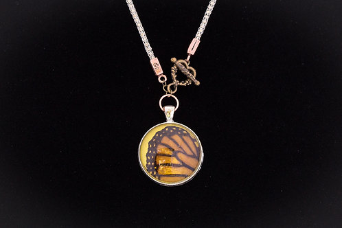 Butterfly Wing w Yellow Backdrop, Round, Mixed Metals