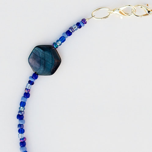 Blue Hex Shell Mask Lanyard
