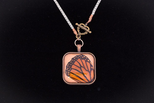 Butterfly Wing w Orange Backdrop, Square, Mixed Metals