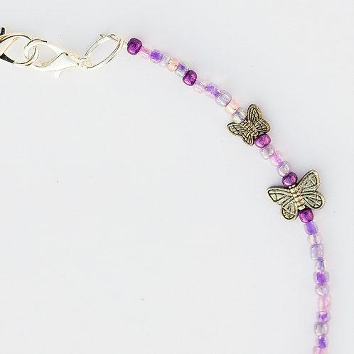 Purple Butterflies Mask Lanyard