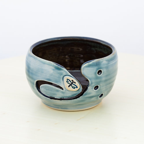 Stoneware Yarn Bowl w Dragonfly Button