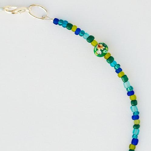 Jeweled Flower Bead Mask Lanyard