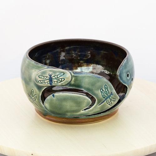Dragonfly Stoneware Yarn Bowl
