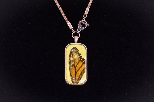 Butterfly Wing w Yellow Backdrop, Rectangle, Copper