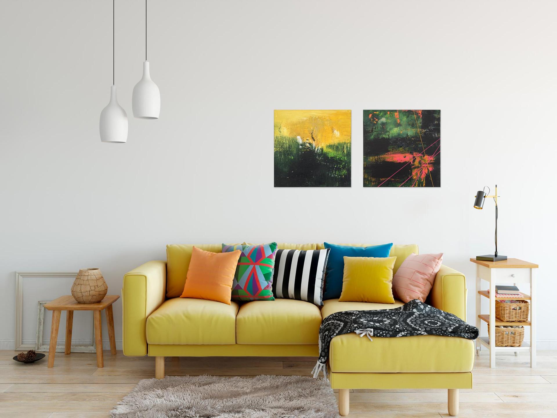 Field Of Gold + Aurora City Lights - 40x40 cm