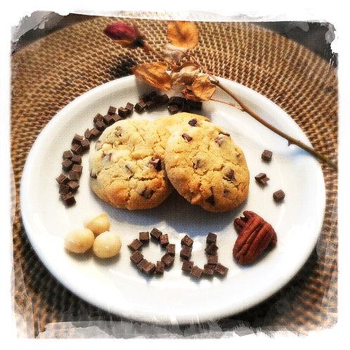 Pépites de chocolat/Noix de pécan (ou Macadamia)