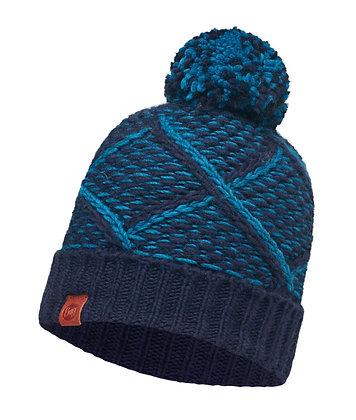 針織保暖毛球帽 藍調 PLAID MEDIEVAL BLUE