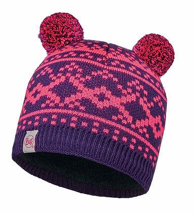 粉紅熊耳 兒童Polar針織保暖帽 NOVY PLUM