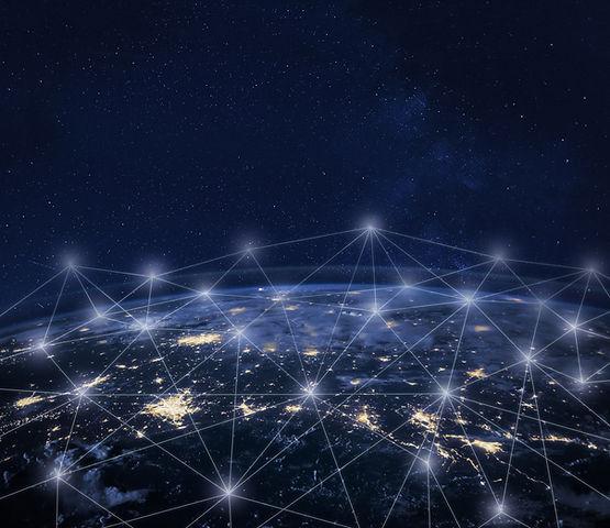 Network communication around Earth seen