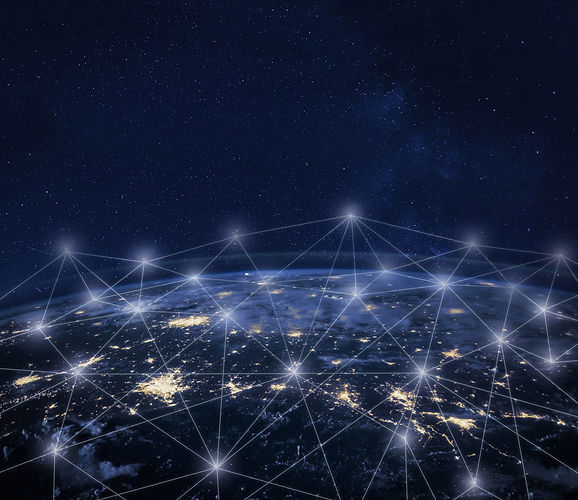 Network communication around Earth seen