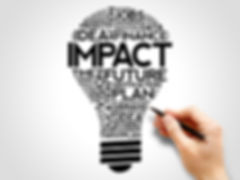 IMPACT bulb word cloud collage, business