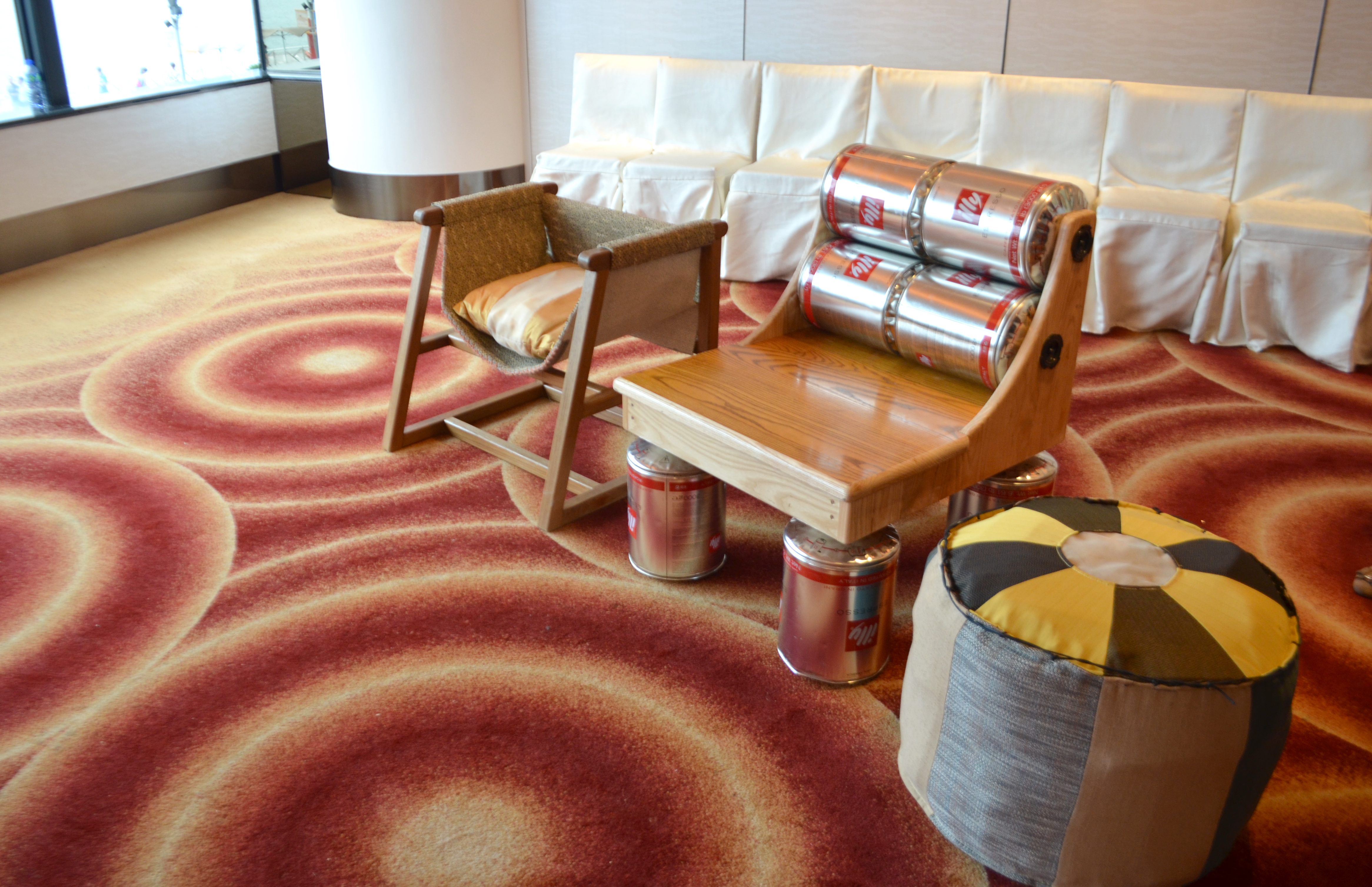 upcycled chair with hotel wastage