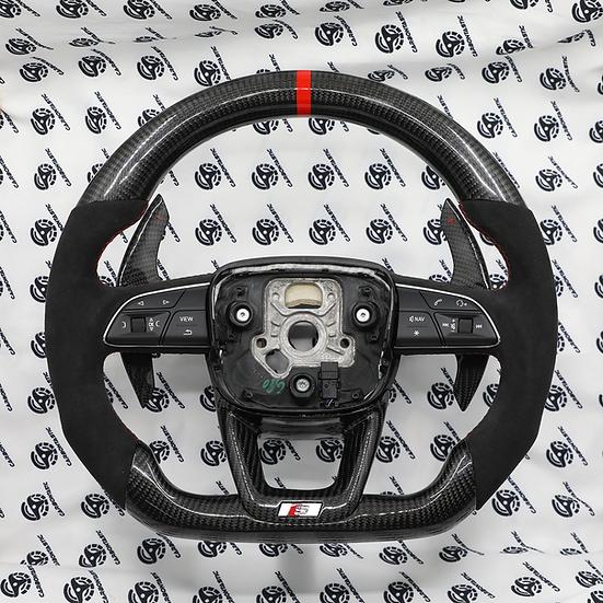 2018+ Audi S,RS/Q5/Q6/Q7/Q8 Custom Carbon Fiber Steering Wheel (Paddle shifter)