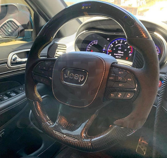 2014+Jeep Track-Hawk SRT Custom Carbon Fiber Steering Wheel with LED Shift Light