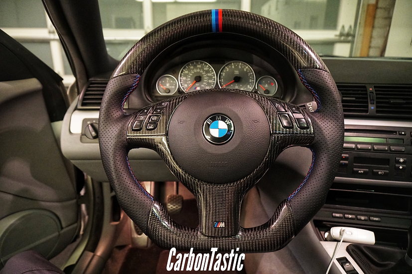 E46/E39 Non-Paddle Shifted Carbon Fiber Steering Wheel Style 1