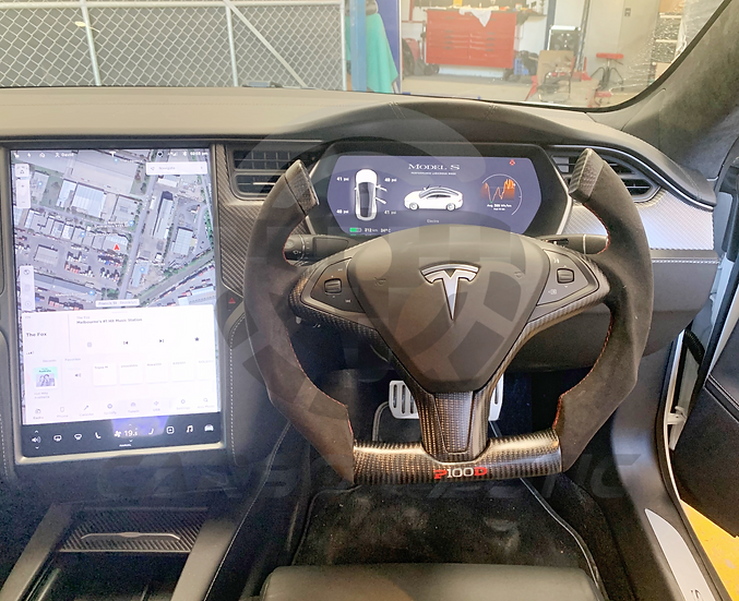 Fighter Jet Style Tesla Model S/X Custom Carbon Fiber Steering Wheel