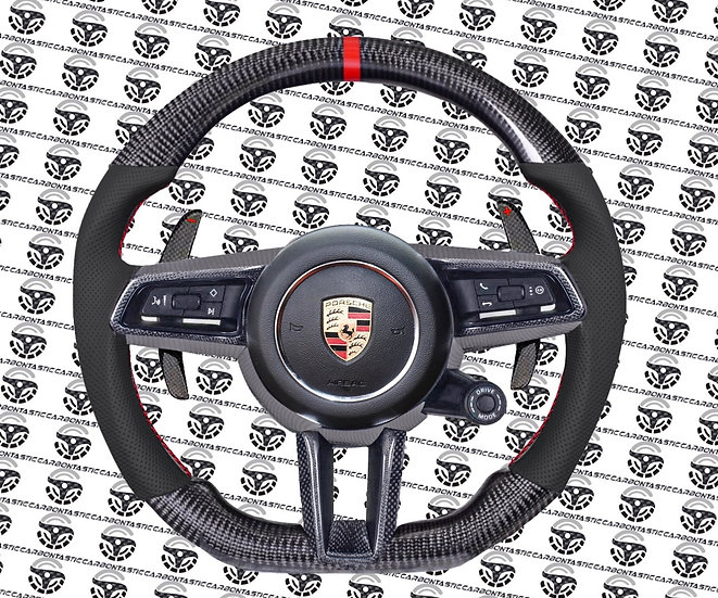 2019+ Porsche Custom Carbon Fiber Steering Wheel Style 1