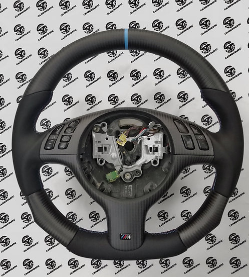E46/E39 Non-Paddle Shifted Carbon Fiber Steering Wheel Style 2